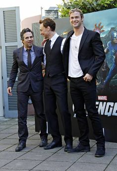 Mark Ruffalo (Hulk), Chris Hemsworth (Thor) & Tom Hiddleston (Loki) - The Avengers a Roma