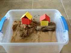 The WIse Man Built His House In a clear plastic tub I'll put some sand.I'll make two tiny houses made of square foam sheets glued together with hot glue.I may make three, one to pass around the primary. Bible Object Lessons, Bible Lessons For Kids, Sunday School Crafts For Kids, Sunday School Lessons, Preschool Bible Activities, Man Crafts, Rock Crafts, Kids Crafts, Jesus Calms The Storm