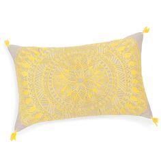 Housse de coussin à pompons en coton jaune 30 x 50 cm SOLARIUM