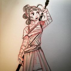 """Quick Rey for today's #inktober  How 'bout that #starwars trailer?!"""