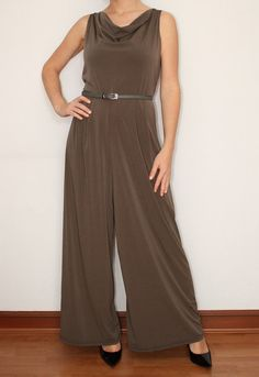 ff65ad55b31 Wide Leg Pants Womens Jumpsuit in Gray Brown by KSclothing on Etsy Black Palazzo  Pants