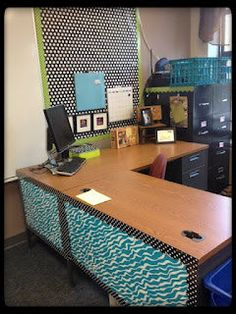 Top 10 Classroom Decor Pins Never thought of decorating the front of the desk. I might do this at home!