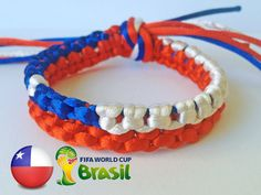 CHILE flag WORLD CUP Brazil 2014 Blue Red White Unique by SmeRuci, $7.50 Soccer Fifa, Play Soccer, Chi Chi, Football Things, Patriotic Symbols, Brazil World Cup, Just A Game, Flags Of The World, Bracelets