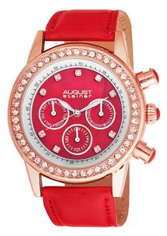 #chronowatchco AUGUST STEINER  Red/Rose Gold Ladies Multi Function Watch