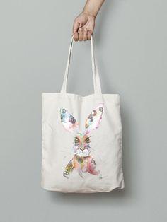 Rabbit eco friendly handmade handbag- watercolor printed Watercolor Animals, Watercolor Print, Handmade Handbags, Hand Bags, Eco Friendly, Rabbit, Tote Bag, Printed, Handmade Bags