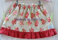 Girl's Gray and Red Floral Ruffle Skirt Size by HandmadebyAuntieEm, $28.00