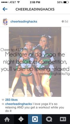 yes yoga helps me relax not even for cheer but in life Cheer Tryouts, Cheer Coaches, Cheer Stunts, Cheer Camp, Cheer Dance, Cheerleading Quotes, College Cheerleading, Competitive Cheerleading, Gymnastics Quotes