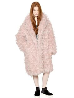 $3,060, N°21 Mohair Blend Fur Effect Coat. Sold by LUISAVIAROMA. Click for more info: https://lookastic.com/women/shop_items/81407/redirect
