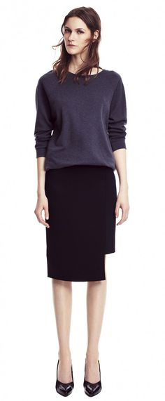 Pencil skirt with sweater or sweatshirt for work, relaxed but put together.