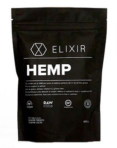 Elixir Hemp | Black stand up pouch | superfood packaging | curated by Copious Bags™