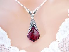 Silver ruby necklace (actually is crystal but still)