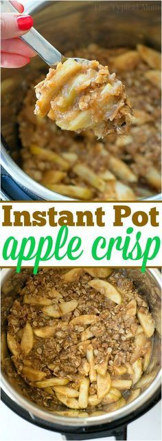 Instant Pot – this is the one I have 7-8 small green apples cut into Thick slices Brown sugar Flour Cornstarch Butter Water – can use half water half Apple cider Oats – not instant – this is the one we buy Cinnamon