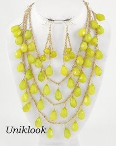 Bold Gold & Lime Green Acrylic Bead Waterfall Bib Fashion Jewelry Necklace Set