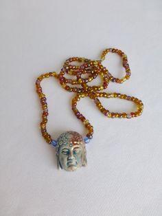OOAK Ceramic Buddha Bronze and Blue Bead by DonkeyandTheUnicorn, $20.00