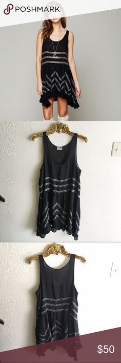 Free People Black Voile and Lace Trapeze Slip Sheer dotted slip dress with lace inset throughout. Ruffled hem.  Intimately  100% Rayon Hand Wash Cold Import Free People Dresses Mini
