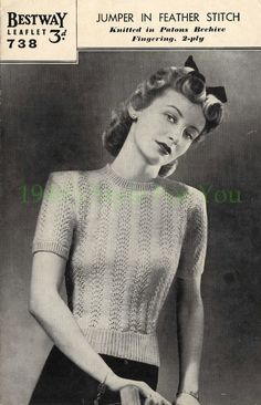 1940's Bestway 738 PDF Knitting Pattern - Jumper in Feather and Fan Stitch - Wartime Jumper