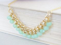 Lime Green Gold Necklace  Chain Dangle Mint by CoolWaterGems