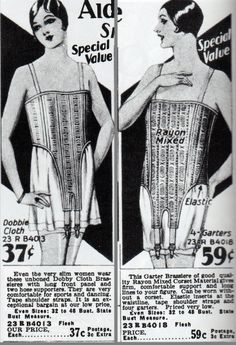 Brassieres from 1928-29. Pictured in Everyday Fashions of the Twenties.