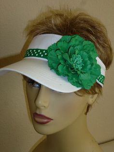 cbe592127cdc9 Ladies Open Clip Sun Visor with Green and White by ArtsyTreats