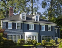 Colonial style with window dormers Traditional Exterior, Traditional House, Cape Cod Exterior, Colonial Exterior, Saltbox Houses, Timber Frame Homes, New Home Construction, Custom Built Homes, Level Homes
