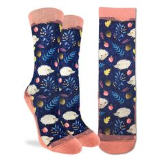 You'll be looking sharp in these fun socks! Featuring a repeat pattern of hedgehogs in the forest, these socks are sure to brighten up almost any outfit and make you smile. We promise these quills aren't dangerous! Funky Socks, Cool Socks, Good Luck Socks, Slow Fashion, Mens Fashion, Sock Shoes, Make You Smile, Fancy, Man Shop