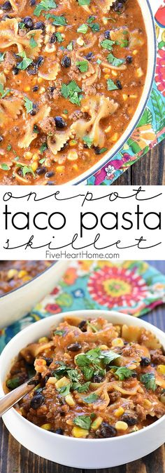 One-Pot Taco Pasta Skillet ~ loaded with ground beef and pasta, flavored with taco seasoning and salsa, and studded with black beans and corn, this easy, cheesy dinner recipe quickly comes together in just one pot! | FiveHeartHome.com