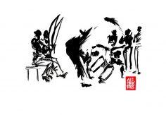 Encres : Capoeira – 471 « meia lua de compasso » [ #capoeira #watercolor #illustration]