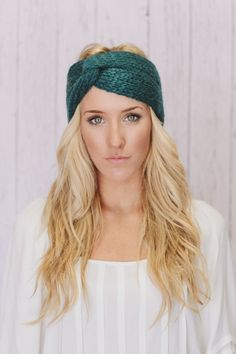 Teal+Knitted+Turban+Headband+Ear+Warmer+Dark+Aqua+by+ThreeBirdNest,+$28.00