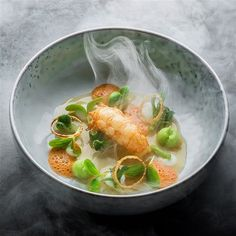 Langoustine with Ice Tea Lemon by Two-Starred Michelin Chef Ande Poel. Photo by Maurice Fransen.