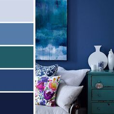 Color palettes to choose the right shades for our interior Interior Color Schemes, Bedroom Color Schemes, Bedroom Colors, Colour Schemes, Color Interior, Blue Paint Colors, Blue Colour Palette, Wall Colors, Colours