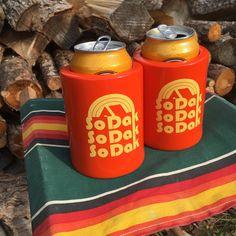 Koozie South Dakota   Vintage Beer Can Coolers Set by ohgeezdesign