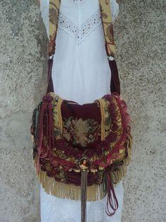 Handmade Fringe Victorian Bag Gypsy Carpet Boho Hippie Cross Body Purse tmyers #Handmade #MessengerCrossBody