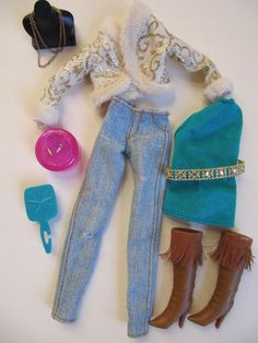 Lot Disney Hannah Montana Doll Miley Cyrus Clothes CAPRI GREEN TOP Boots & Jewelry