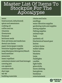Master List Of Items To Stockpile For The Apocalypse ►► http://off-grid.info/blog/master-list-of-items-to-stockpile-for-the-apocalypse/?i=p Survival Food, Personalized Items, Recipes, Food Recipes, Medical Prescription, Recipe