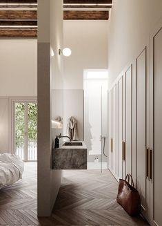 Open-concept bath, wardrobe and master bedroom