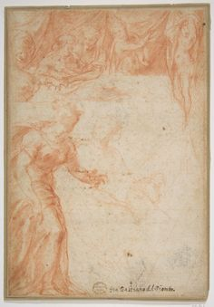 Rosso Fiorentino,1494–1540, Italian, Figural Studies for a Scene (The Birth of the Virgin or Saint John the Baptist?), c.1495–1540.  Red chalk; 22.1 x 15.2cm.  The Metropolitan Museum of Art.  Mannerism.