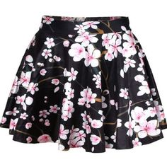Floral Attractive Flared Mini Skirt (£23) ❤ liked on Polyvore featuring skirts, mini skirts, short mini skirts, short flared skirt, floral mini skirt, floral printed skirt and flare skirt