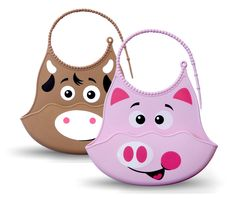Amazon.com : Bibimals Baby Bibs - (Farm Pack) (Pig & Cow) Funny Cool Cute Washable Silicone : Baby