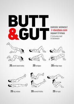 Butt & Gut Workout by DAREBEE #darebee #workout #fitness