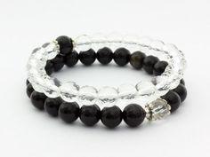 Obszidián és hegyikristály jin-jang ásvány karkötő csomag Necklaces, Bracelets, Jewelry, Accessories, Jewlery, Jewerly, Schmuck, Jewels, Jewelery