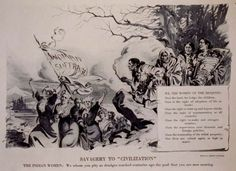 Political Cartoon from 1914 showing Iroquois women looking down on the white women fighting for the right to vote, in Iroquois society Women & Men are equal.