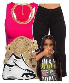 """"" by trillest-queen ❤ liked on Polyvore featuring Pure Lime, Michael Kors, Forever 21 and Retrò"