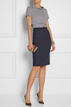 Women's business style | Oscar de la Renta|Gingham wool-blend dress|NET-A-PORTER.COM