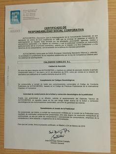 Certificado de responsabilidad social corporativa auditada por autocontrol