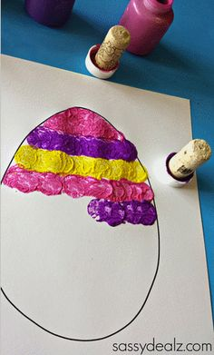 Wine Cork Easter Egg Stamping Craft for Kids – Crafty Morning Easter pictures with a difference. Nice craft idea for the right season. # Cork Wine Cork Easter Egg Stamping Craft for Kids – Crafty Morning Easter Crafts For Toddlers, Easter Egg Crafts, Easter Art, Bunny Crafts, Easter Activities, Easter Crafts For Kids, Toddler Crafts, Craft Activities, Preschool Crafts