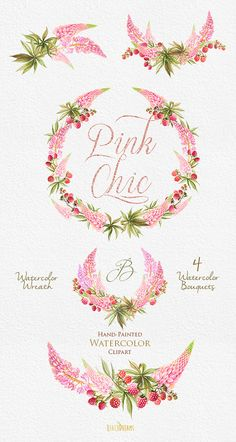 Wedding Watercolor Wreath & Bouquets. Flowers pink von ReachDreams
