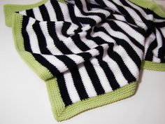 Love this Modern Baby blanket in black and white stripes with green trim by PinkyRoo                                                                                                                                                     More