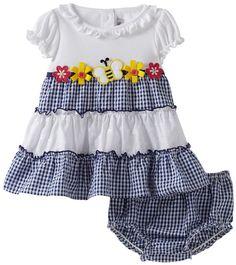 Youngland Baby-girls Infant Short Sleeve Color Block Bee Applique Seersucker Dress With Diaper Cover