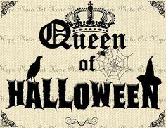 Queen of Halloween 8.5x11 Image Transfer - Burlap Feed Sacks Canvas Pillows Towels digital paper greeting cards - U Print JPG 300dpi