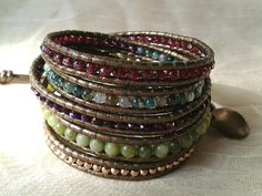 Garnet and Moss agate mix, beaded wrap leather bracelet, chan luu inspired,leather beaded wrap bracelet